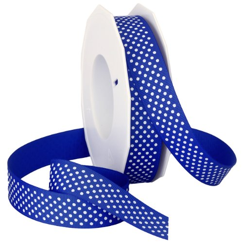 Swiss Dot Grosgrain Hair Bow - Morex Swiss Dot Polyester Grosgrain Ribbon, 7/8-Inch by 20-Yard Spool, Royal Blue