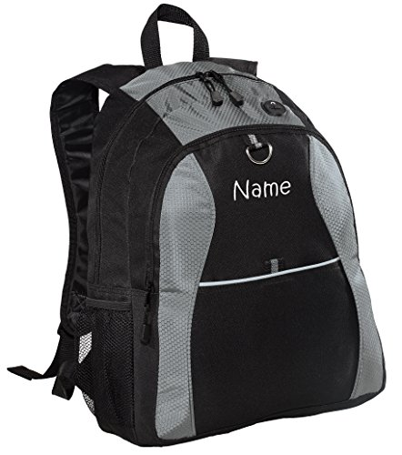 Personalized Grey Contrast Backpack with Embroidered Name -