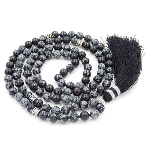 Gemstone Mala Beads Necklace, Mala Bracelet, Buddha necklace, Hand Knotted Mala (snowflake (Snowflake Jasper)