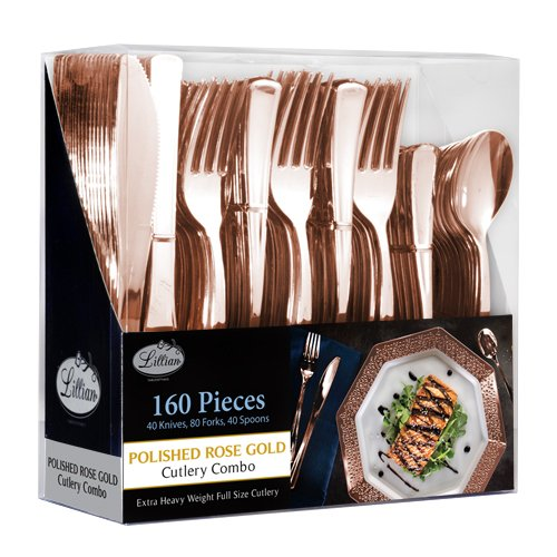 Plastic Cutlery Silverware Extra Heavyweight Disposable Flatware, Full Size Cutlery Combo, Rose Gold, 80 Forks, 40 Spoons, 40 Knifes, Value Pack 160 Count ()