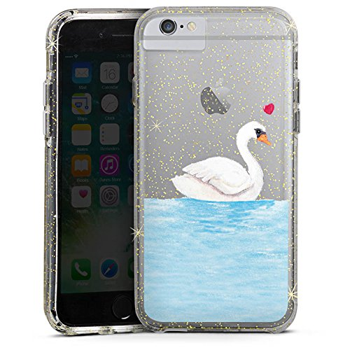 Apple iPhone 6 Bumper Hülle Bumper Case Glitzer Hülle Schwan ohne Hintergrund Liebe
