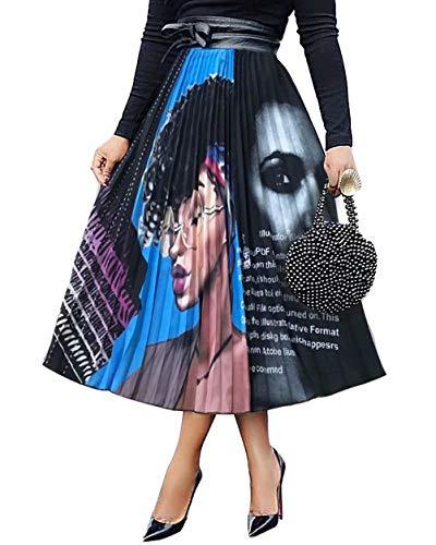 (ThusFar Women's Graffiti Pleated Skirts Cartoon Printed Elastic Waist A-Line Swing Midi Skirt Lady)