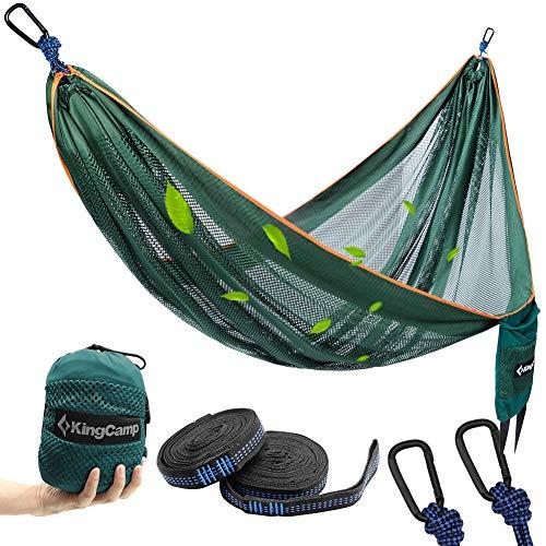 KingCamp Camping Hammock, Portable Mesh Hammock Breathable Lightweight Ice Silk Single Hammocks for Outdoor and Indoor, 330lbs Ultralight with 2 Tree Straps and Storage Bag(Green) (Hammock Pergola)