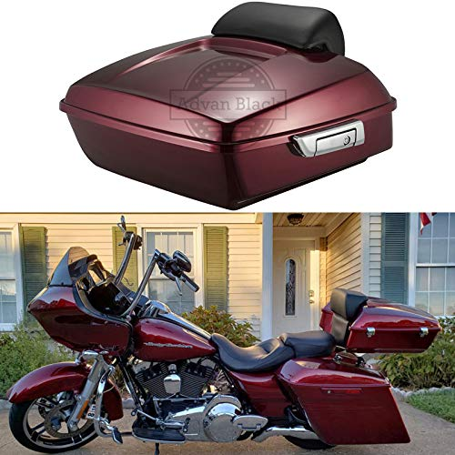 Moto Onfire Us Stock Velocity Red Sunglo Chopped Tour Pack Backrest Pad Trunk Pack Fit for Harley Touring Street Glide Road King Road Glide Electra Glide Ultra Classic 2014 2015 2016 2017 2018 2019 ()