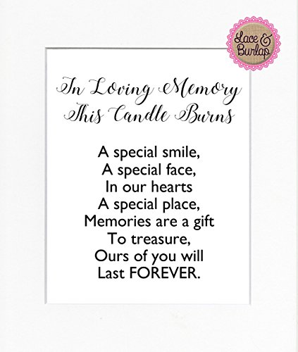 8x10 UNFRAMED PRINT In Loving Memory This Candle Burns / Print Sign / Candle Burns Memorial Remembrance In Loving Memory Wall Décor