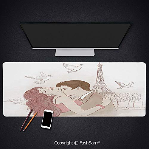Desk Large Mat Mouse Pads Romantic Man and Woman in Front of Eiffel Tower Flying White Birds Love Passion Decorative Keyboard Pad for Laptop(W27.5xL11.8)