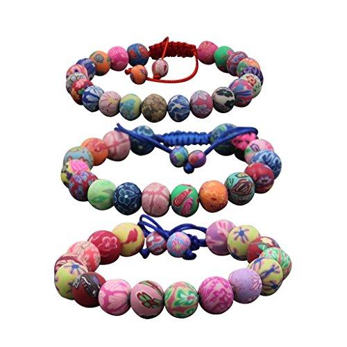 3 PCS (8mm, 10mm, 12mm) Adjustable Fimo Polymer Clay Beads Buddhist Prayer Wrist Mala Bracelet