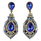 WensLTD Clearance! 1 Pair Women Sparkling Crystal Teardrop Dangle Rhinestone Stud Earrings (Blue)