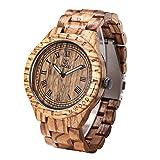 Uwood Luxury Brand Zebra Sandal Wooden Mens Quartz Watches Fashion Natural Wood Watch