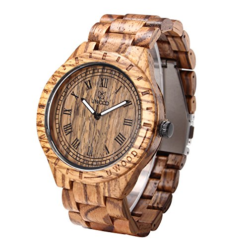 Uwood Luxury Brand Zebra Sandal Wooden Mens Quartz Watches Fashion