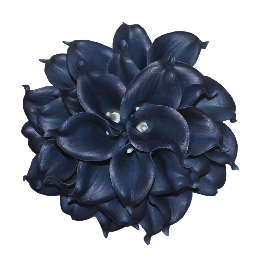 Mini-15-Artificial-Calla-Lily-10-Stem-Bridal-Bouquets-Artificial-Latex-Real-Touch-Flowers-for-Home-Party-Decor-Navy-Blue