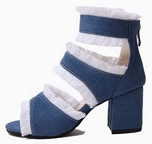 Femme Foncé Sandales Ouverture Talon Mélangee Haut à d'orteil Matière Bleu GMBLB014584 AgooLar TdRwqSS