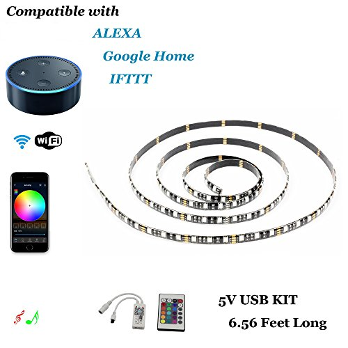 INVOLT LED Strip Lights Alexa Compatible USB Kit, 2M 6.56Ft 5V 5050 RGB 120LEDs, Wifi SmartPhone Wireless Control & Music Sync, Work with Android IOS APP, IR Remote Controller & Google Home & IFTTT
