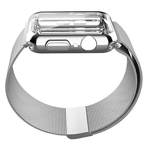 UPBAND Silver Band with Case for Apple Watch Series 4 40mm, Band - Stainless Steel Adjustable Replacement Strap, and Case - Overall Protection TPU Screen Protector, Ultra-Slim Compatible with iwatch