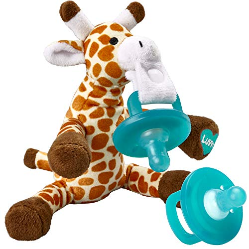 Infant Pacifier and Plush Giraffe Holder - Detachable Soft Stuffed Animal Toy Plus Removable Baby Pacifiers - Latex Free - Bonus Pacifier - by Luvvy