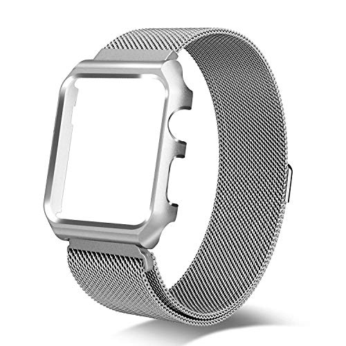 Metal Mesh Strap - Henstar Compatible with Apple Watch Band 44mm Milanese Loop Magnetic Mesh Stainless Steel Strap with Metal Bumper Case Compatible with iWatch Series 4 (44mm Milanese with Case - Silver, 44mm)