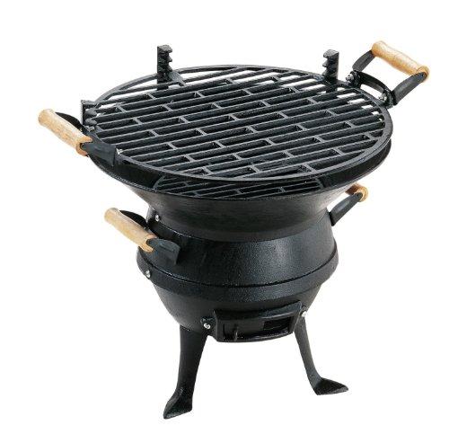 KD and Jay BBQ-Grill / Kohlegrill / Grillfass, aus Gusseisen, verstellbar, für Garten / zum Campen / fürs Barbeque, Schwarz