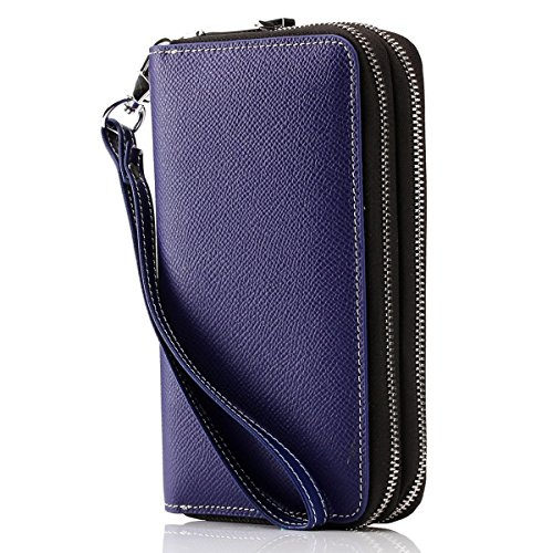 Contacts Womens Genuine Leather Car Key Holder Wallet Double Zipper Small Bag Wristlet Blue