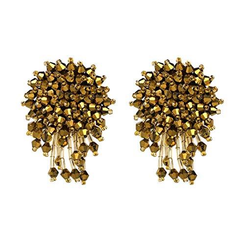 Charming Crystal Beads Thread Long Geometric Charms Eardrop Dangle Drop Earrings (Gold)