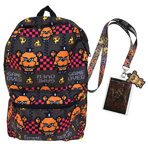 FNAF Five Nights at Freddy's School Backpack Luggage Bag with Lanyard (Game Over) -