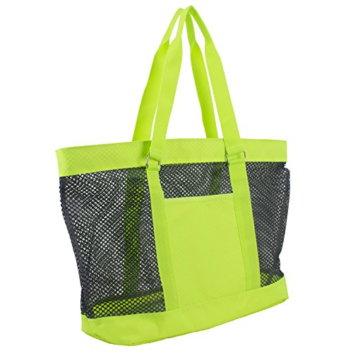 Indigo Lightweight Tote (Eastsport Mesh Tote Beach Bag, Indigo/Neon Yellow)