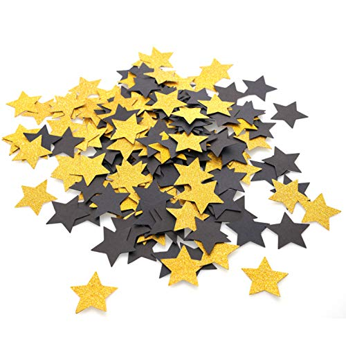 Black and Gold Party Table Confetti Decor- Twinkle Stars Table Scatter Confetti Baby Shower Birthday Wedding Bachelorette Graduation Party Confetti Decorations, 200pc ()