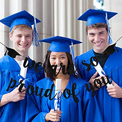 Felt Black We Are So Proud Of You Banner- 2020 Graduation Party Decorations,Class of 2020 Graduation Decor,High School Graduation Decor,College Grad Party Decorations Supplies: Toys & Games