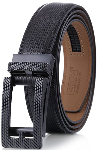 (Marino Men's Genuine Leather Ratchet Dress Belt with Open Linxx Buckle, Enclosed in an Elegant Gift Box - Black - Style 154 - Custom XL: Up to 54