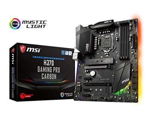 MSI Performance Gaming Intel Coffee Lake LGA 1151 DDR4 VR Ready Onboard Graphics CFX ATX Motherboard (H370 GAMING PRO CARBON) (Pentium Board 4)