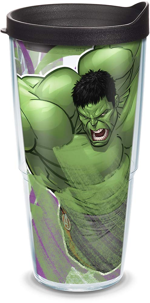 Hulk Iconic Insulated Travel Tumbler with Wrap and Black Lid Tervis 1319335 Marvel 24oz Clear Tritan