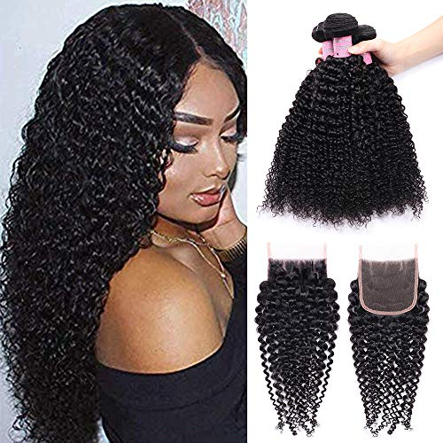 IUEENLY Brazilian Curly Hair with Closure Free Part Brazilian Virgin Curly Weave Human Hair 3 Bundles With Closure Natural Color (16 18 20+14inch) from IUEENLY