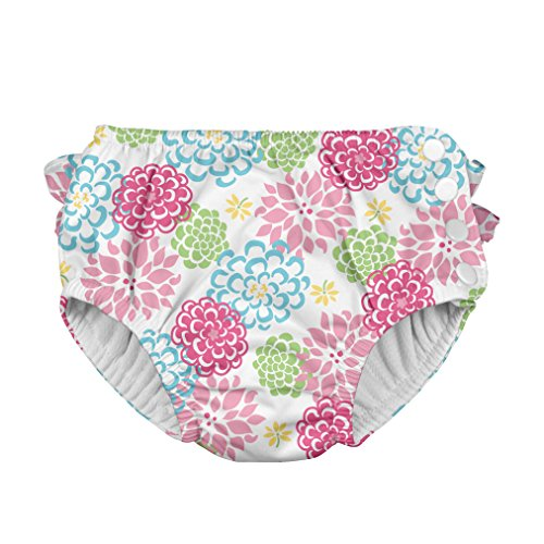 i play. Toddler Girls' Ruffle Snap Reusable Absorbent Swim Diaper, White Zinnia,3T