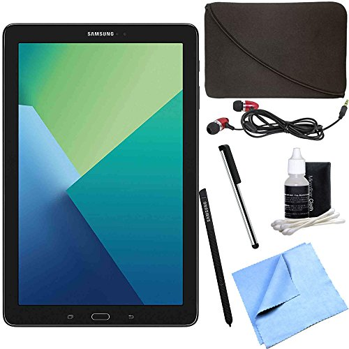 Samsung Galaxy Tab A 10.1 Tablet PC Black w/ S Pen Bundle includes Tablet, Microfiber Cloth, Cleaning Kit, Stylus Pen with Clip, Protective Neoprene Sleeve and Metal Ear Buds by Samsung