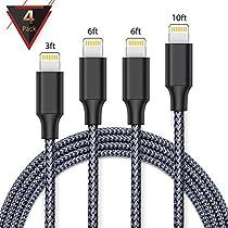 iPhone charger,FAMMU lightning cable, 4Pack 3FT 6FT 6FT 10FT iphone cord for iPhone X/8/7/7 Plus/6s/6s Plus/6/6 Plus/SE/5s/5c/5,iPad/iPod-sliver (sliver, 4pc-01)