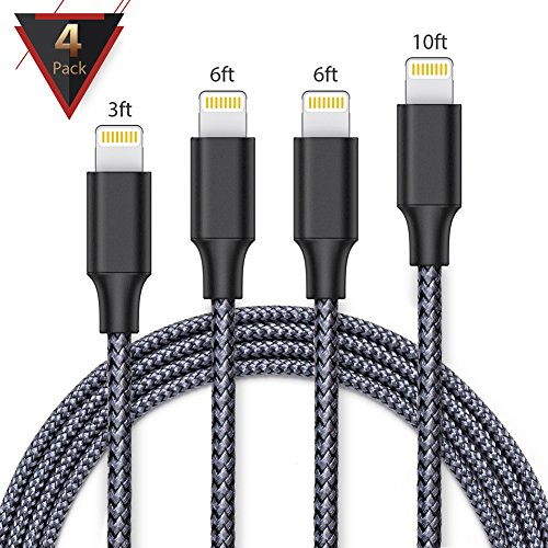 iPhone charger,FAMMU lightning cable, 4Pack 3FT 6FT 6FT 10FT iphone cord for iPhone X/8/7/7 Plus/6s/6s Plus/6/6 Plus/SE/5s/5c/5,iPad/iPod (Black Gery)