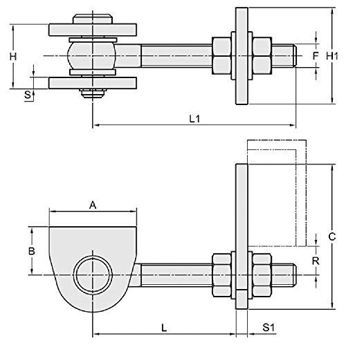 Zingu/é Sauf Pi/èces /à Souder //8 Fac Gonds M12 R/églage Orthogonal