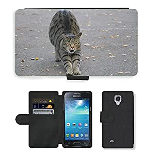 Hot Style Cell Phone Card Slot PU Leather Wallet Case // M00109978 Animals Cat Mackerel Stretch Tooth // Samsung Galaxy S4 Mini i9190