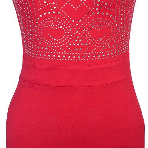 NiSeng Mujeres Sin Mangas Largo Vestidos Falda De Cola De Pescado Grande Swing Vestidos De Dama Cóctel Vestido Rojo