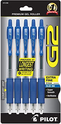 PILOT G2 Premium Refillable & Retractable Rolling Ball Gel Pens, Extra Fine Point, Blue Ink, 5-Pack (31298)