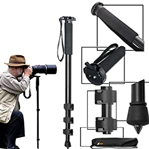 Durable Pro Grade 75 inch Tripod + 72 inch Pro Monopod W/ Convenient Backpack style Carrying Case for Canon EOS 70D 60D 7D 6D 5D 7D Mark II EOS Rebel T6i T6S T5i T5 T4i T3i T3 T2i SL1 750D 700D 650D 600D 550D 1200D 1100D 100D EOS M3 M2 T1i XTi XT SL1 XSi DSLR Cameras