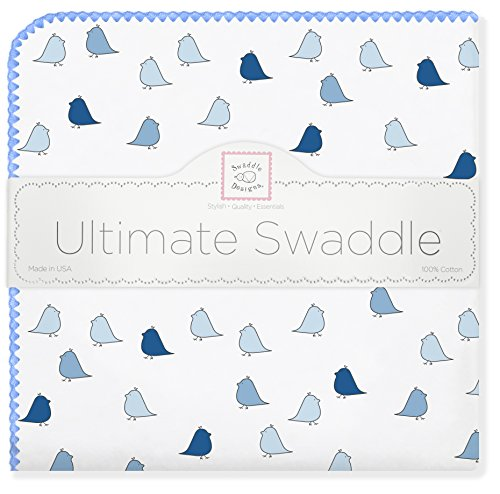 SwaddleDesigns Ultimate Swaddle, X-Large Receiving Blanket, Made in USA Premium Cotton Flannel, Bright Blue Jewel Tone Little Chickies (Moms Choice Award Winner)