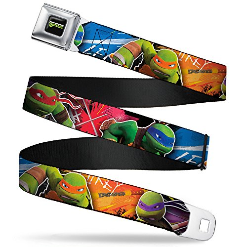 Buckle-Down Seatbelt Belt - TMNT New Series Character Action Pose C/U Multi Color - 1.0