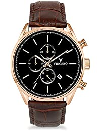 Men's Chrono S Watch - Rose Gold with Leather Band