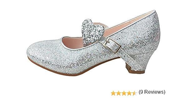 La Señorita Zapato Elsa Frozen corazón Flamenco Sevillanas de la princesa niña plata purpurina: Amazon.es: Zapatos y complementos