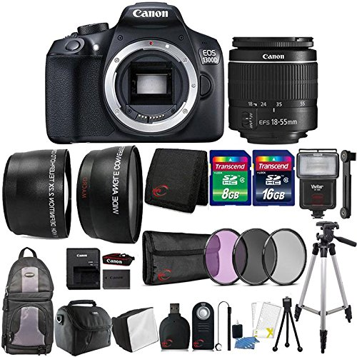 Canon EOS 1300D / T6 18MP Digital SLR Camera with 18-55mm Lens , Slave Flash and 24GB Accessory Bundle