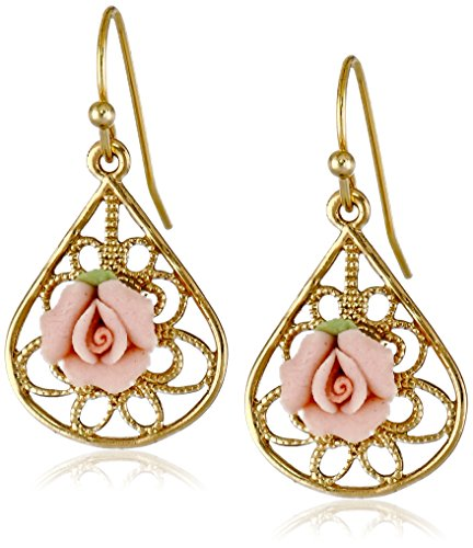 1928 Jewelry Gold-Tone and Pink Porcelain Rose Drop Earrings