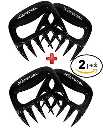 BBQ Meat Shredder 2 Pack By X-Special Best Gadget for Pulled Pork, Carve, Serve, Handle & Lift > Large Pieces of Meat: Pork Brisket Chicken Turkey From Grill, Oven, BBQ, Pans (Individually Packaged)