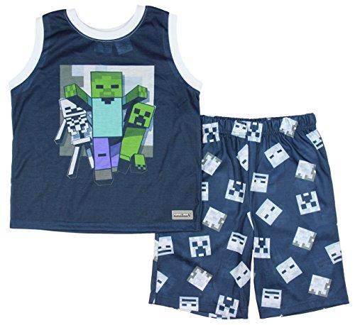 Minecraft Boy's Blue 2 Piece Sleeveless Pajama Set (Small 6/7)