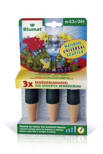1l Refill Bottle - Blumat Garden Plant Spikes, Made in Austria, 3-Pack of Stakes Fits Standard 1 Liter & 2 Liter Bottles for Automatic Vacation Watering