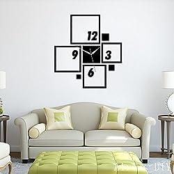 Alrens_DIY(TM)Black Suqares Frames Art Mordern Luxury Design Acrylic Silent Quartz Wall Clock DIY Removable 3D Crystal Mirror Wall Clock Acrylic Non-ticking Quiet Quartz Clock Wall Sticker Home Decor Art Living Room Bedroom Decoration